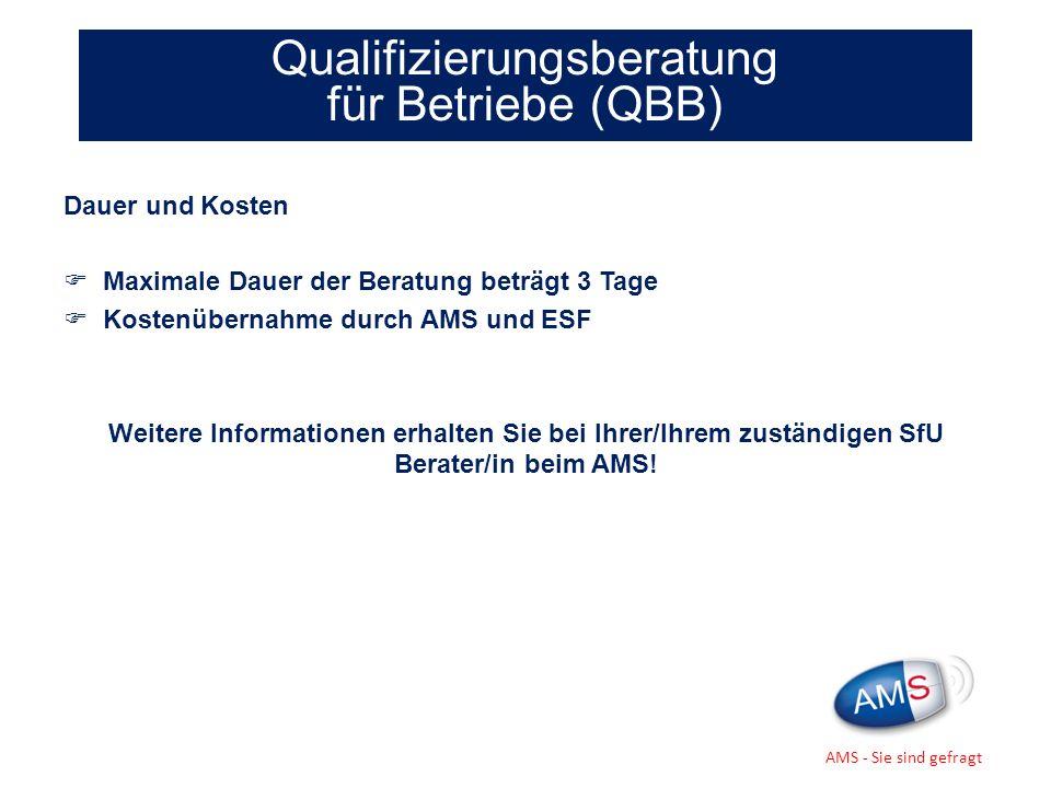 Dauer und Kosten Maximale Dauer der Beratung beträgt 3 Tage Kostenübernahme durch AMS und ESF Weitere Informationen erhalten Sie bei Ihrer/Ihrem zustä