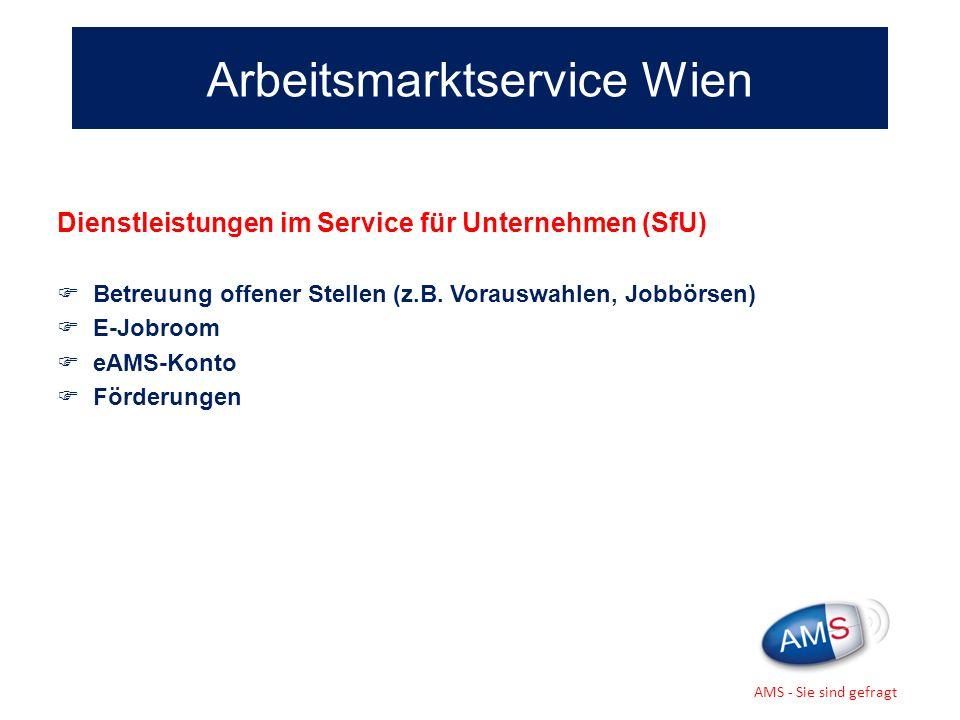 Dienstleistungen im Service für Unternehmen (SfU) Betreuung offener Stellen (z.B. Vorauswahlen, Jobbörsen) E-Jobroom eAMS-Konto Förderungen Arbeitsmar