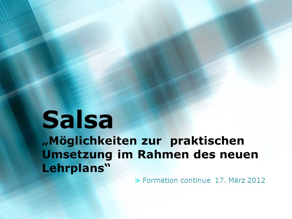 2 Tagesablauf > 8.30 – 9.30 Einführung (Gemeinsam) theoretische Einführung (Entstehungsgeschichte, Musik, Formen und Stile,...) Warm Up > 9.45 – 12.15 Salsa Workshops (Leistungsgruppen) Niveau 1: Salsa cubaine (Rueda de casino) Niveau 2: Salsa puertoricaine > 12.15 – 13.30 Mittagspause > 13.30 – 14.00 Remise en forme (Gemeinsam) > 14.00 – 16.00 Salsa Workshops (Leistungsgruppen) Niveau 1: Salsa puertoricaine Niveau 2: Salsa cubaine (Rueda de casino) > 1630 – 1700 Salsa im Schulsport (Gemeinsam) Didaktik, Methodik, Evaluation