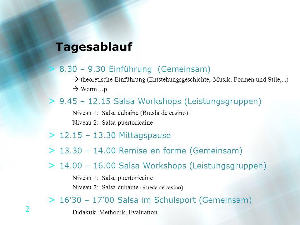 2 Tagesablauf > 8.30 – 9.30 Einführung (Gemeinsam) theoretische Einführung (Entstehungsgeschichte, Musik, Formen und Stile,...) Warm Up > 9.45 – 12.15