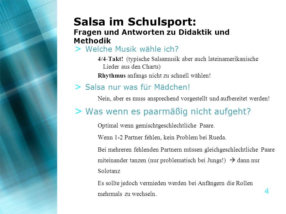 4 Salsa im Schulsport: Fragen und Antworten zu Didaktik und Methodik > Welche Musik wähle ich? 4/4-Takt! (typische Salsamusik aber auch lateinamerikan