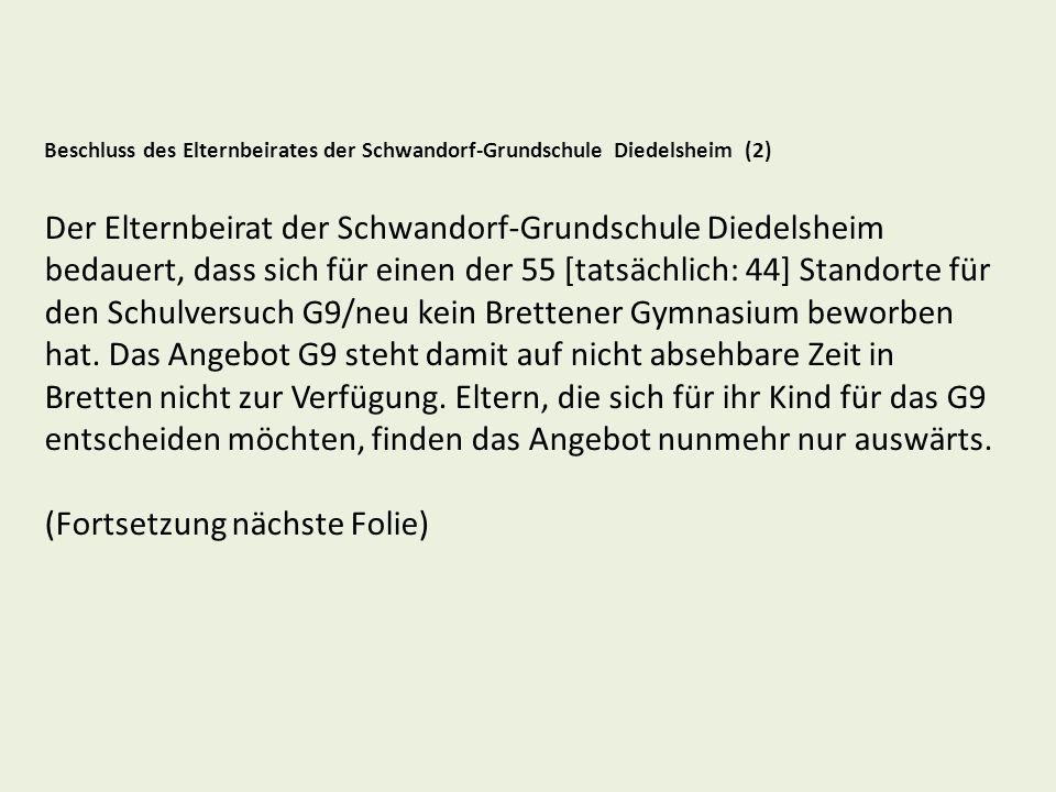 Gesamtelternbeirat der Stadt Bretten Online-Umfrage zu Gemeinschaftsschule und G9/neu Beginn der Umfrage: 24.