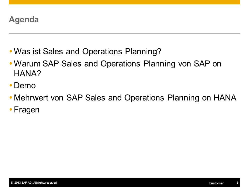 Mehrwert von SAP Sales and Operations Planning on HANA