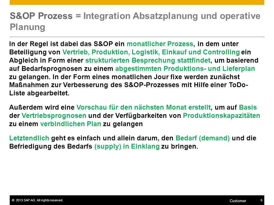 ©2013 SAP AG. All rights reserved.5 Customer S&OP Prozess = Integration Absatzplanung und operative Planung In der Regel ist dabei das S&OP ein monatl