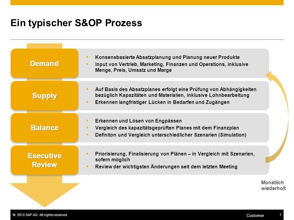 ©2013 SAP AG. All rights reserved.7 Customer Priorisierung, Finalisierung von Plänen – in Vergleich mit Szenarien, sofern möglich Review der wichtigst