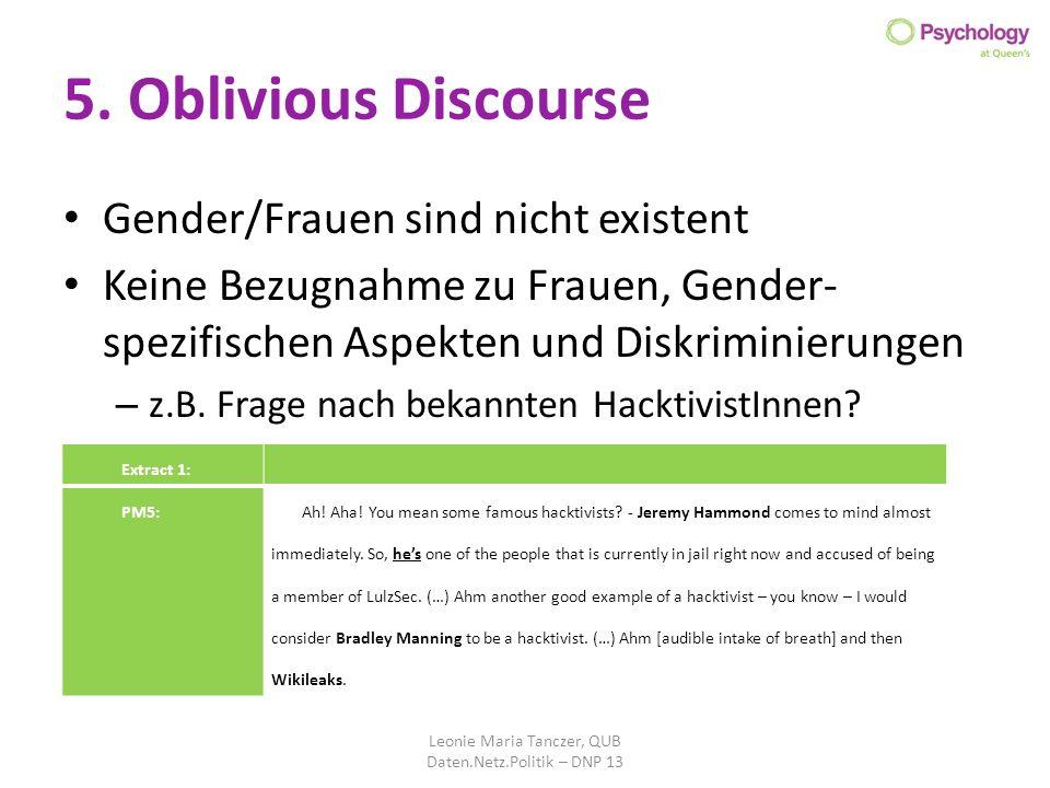 5. Oblivious Discourse Gender/Frauen sind nicht existent Keine Bezugnahme zu Frauen, Gender- spezifischen Aspekten und Diskriminierungen – z.B. Frage