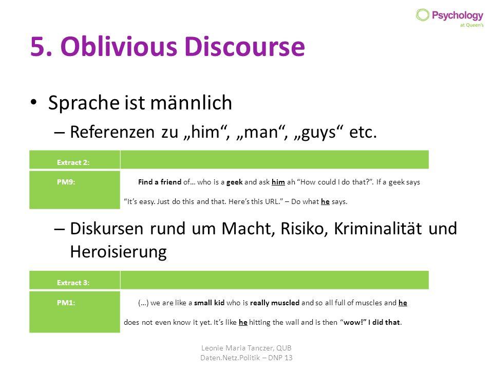 5. Oblivious Discourse Sprache ist männlich – Referenzen zu him, man, guys etc. – Diskursen rund um Macht, Risiko, Kriminalität und Heroisierung Leoni