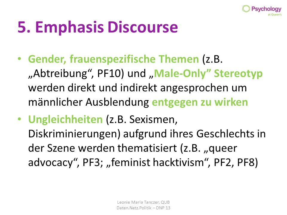 5. Emphasis Discourse Gender, frauenspezifische Themen (z.B. Abtreibung, PF10) und Male-Only Stereotyp werden direkt und indirekt angesprochen um männ