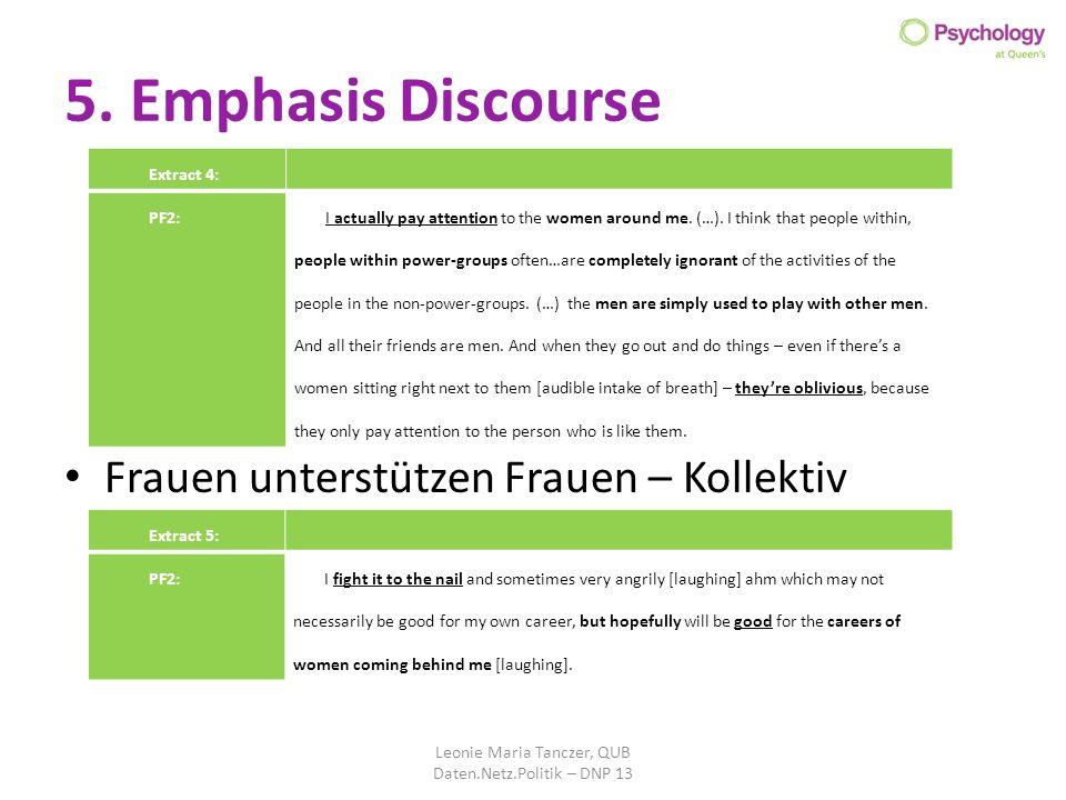 5. Emphasis Discourse Frauen unterstützen Frauen – Kollektiv Leonie Maria Tanczer, QUB Daten.Netz.Politik – DNP 13 Extract 4: PF2: I actually pay atte