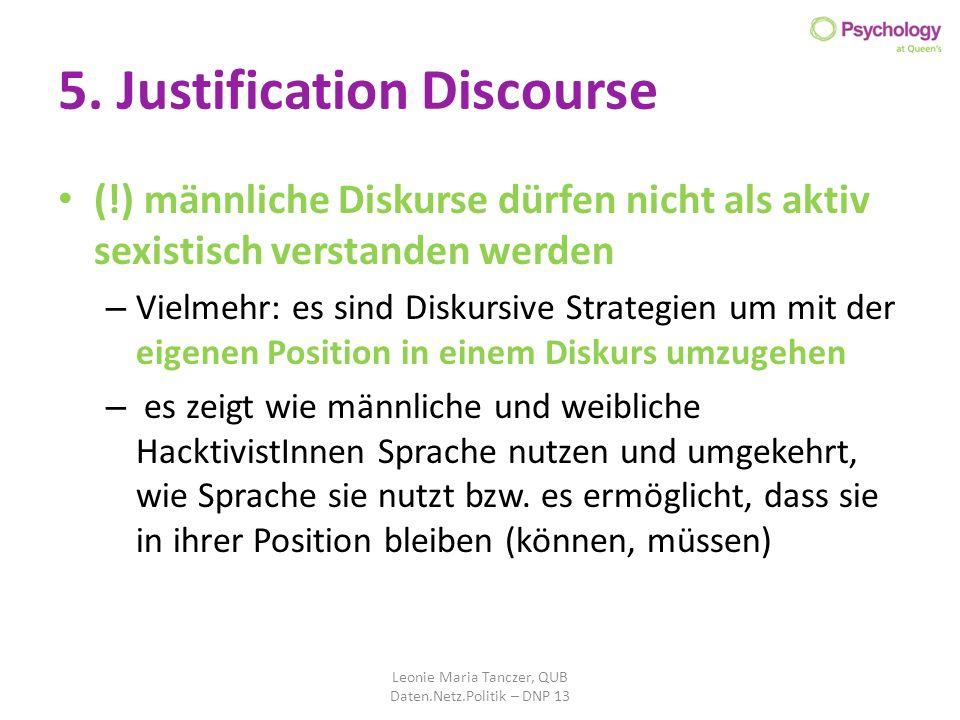 5. Justification Discourse (!) männliche Diskurse dürfen nicht als aktiv sexistisch verstanden werden – Vielmehr: es sind Diskursive Strategien um mit