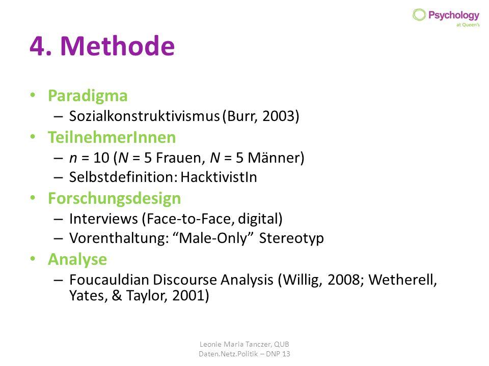 4. Methode Paradigma – Sozialkonstruktivismus (Burr, 2003) TeilnehmerInnen – n = 10 (N = 5 Frauen, N = 5 Männer) – Selbstdefinition: HacktivistIn Fors
