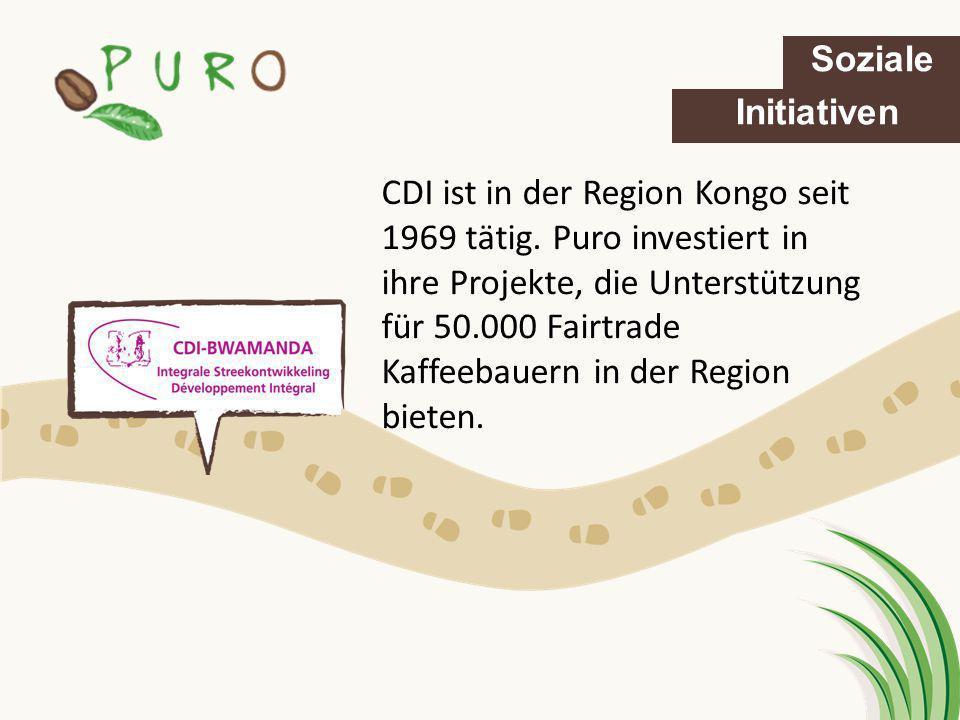 CDI ist in der Region Kongo seit 1969 tätig. Puro investiert in ihre Projekte, die Unterstützung für 50.000 Fairtrade Kaffeebauern in der Region biete