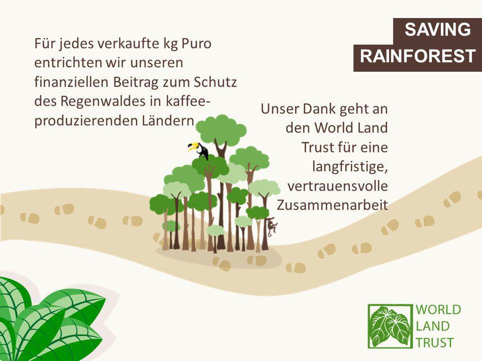 SAVING RAINFOREST Unser Dank geht an den World Land Trust für eine langfristige, vertrauensvolle Zusammenarbeit Für jedes verkaufte kg Puro entrichten