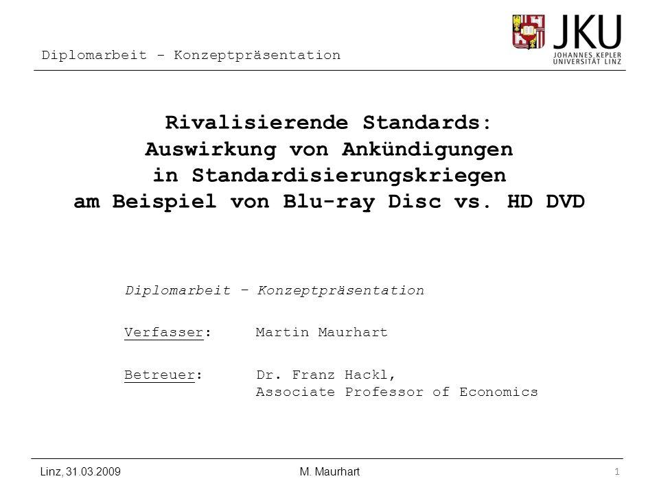 Diplomarbeit - Konzeptpräsentation Rivalisierende Standards: Auswirkung von Ankündigungen in Standardisierungskriegen am Beispiel von Blu-ray Disc vs.