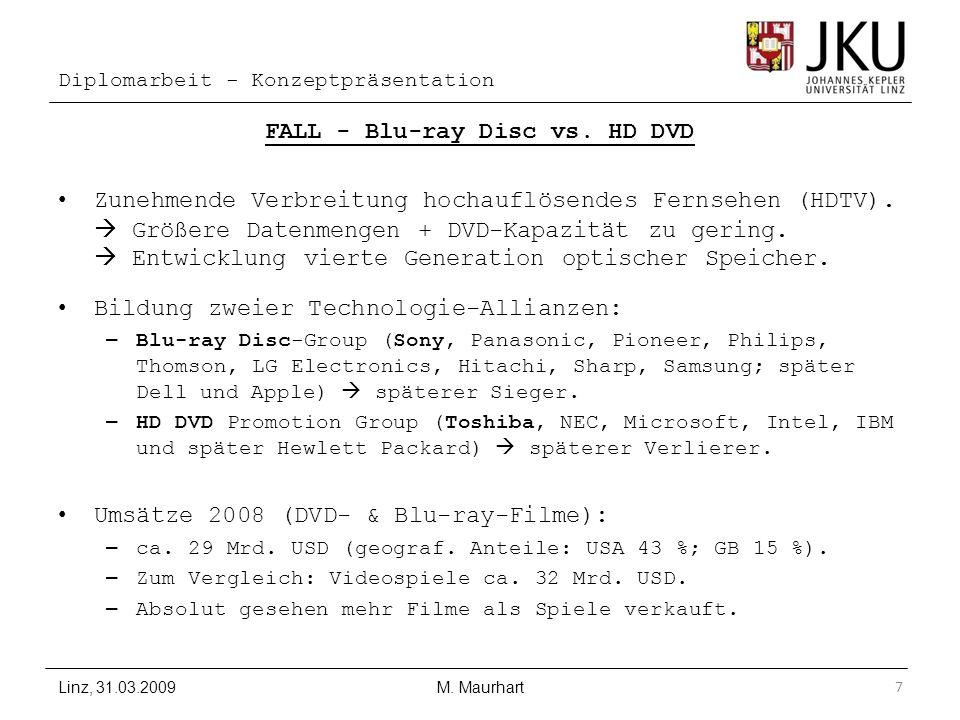 Diplomarbeit - Konzeptpräsentation FALL - Blu-ray Disc vs. HD DVD Zunehmende Verbreitung hochauflösendes Fernsehen (HDTV). Größere Datenmengen + DVD-K