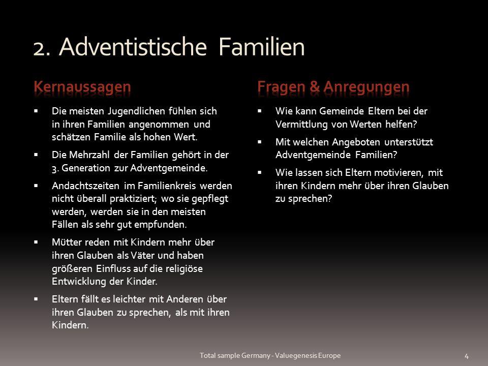 2. Adventistische Familien Die meisten Jugendlichen fühlen sich in ihren Familien angenommen und schätzen Familie als hohen Wert. Die Mehrzahl der Fam