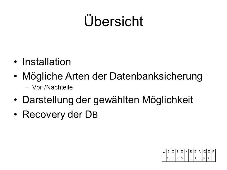 Übersicht Installation Mögliche Arten der Datenbanksicherung –Vor-/Nachteile Darstellung der gewählten Möglichkeit Recovery der D B