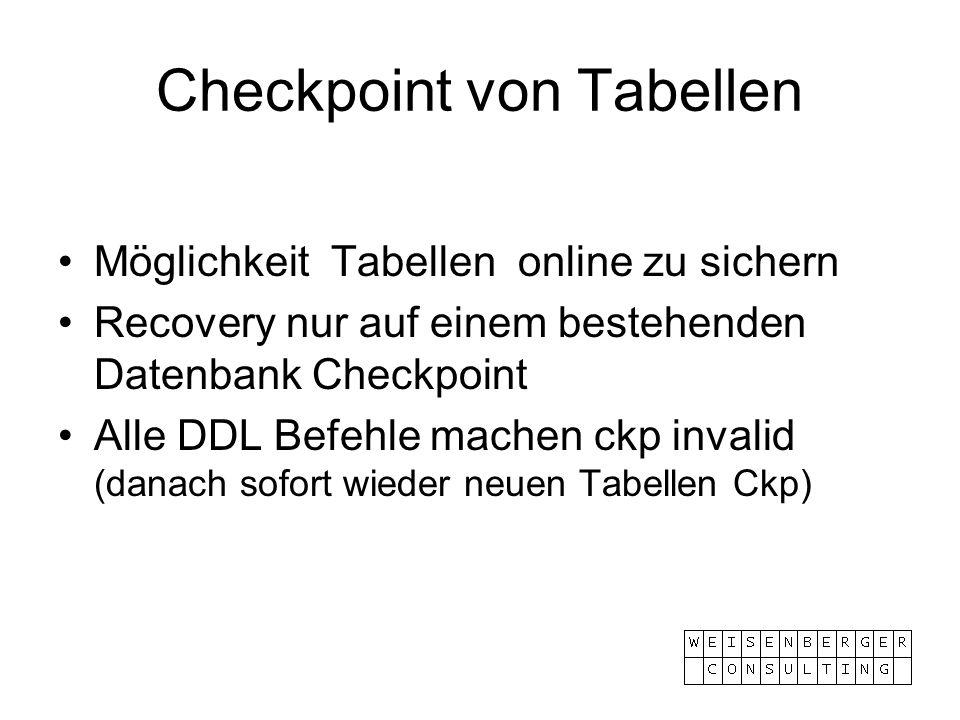 Checkpoint von Tabellen Möglichkeit Tabellen online zu sichern Recovery nur auf einem bestehenden Datenbank Checkpoint Alle DDL Befehle machen ckp inv