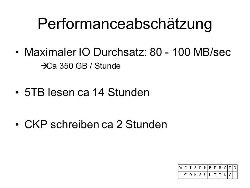 Performanceabschätzung Maximaler IO Durchsatz: 80 - 100 MB/sec Ca 350 GB / Stunde 5TB lesen ca 14 Stunden CKP schreiben ca 2 Stunden