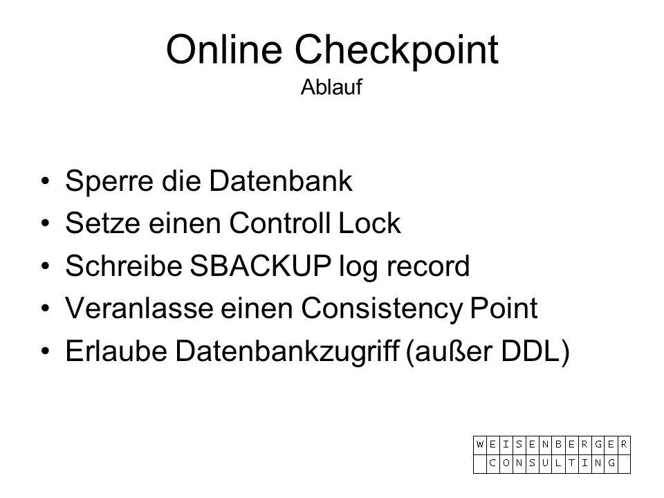 Online Checkpoint Ablauf Sperre die Datenbank Setze einen Controll Lock Schreibe SBACKUP log record Veranlasse einen Consistency Point Erlaube Datenba