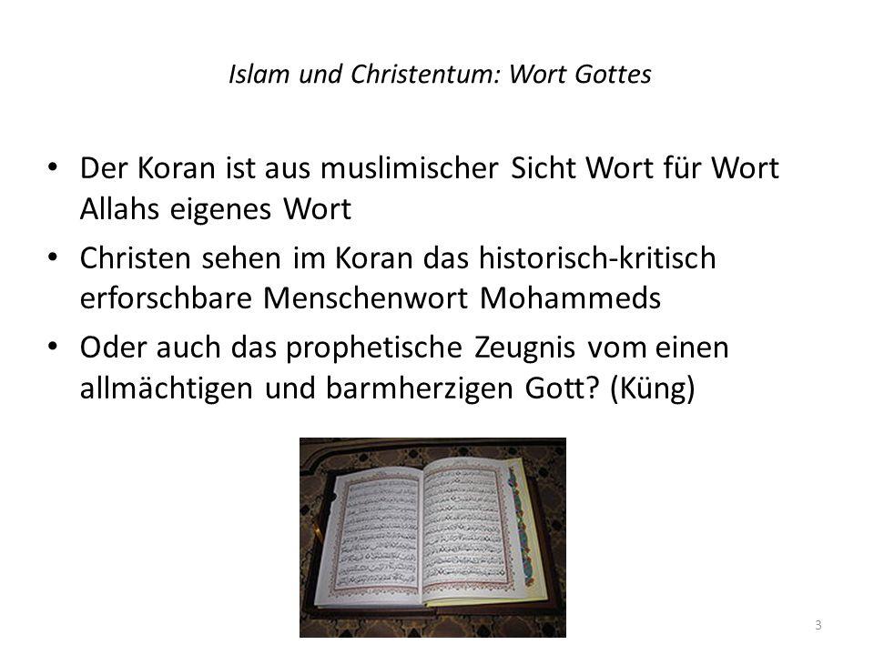 Islam und Christentum: Wort Gottes 2 Die Bibel ist nach christlichem Verständnis Zeugnis von Gottes Wort an Israel und in Jesus Christus (anders der christliche Fundamentalismus) Ihre Autorität liegt in ihrer Wirksamkeit: weil durch sie Christus zu den Menschen spricht 4