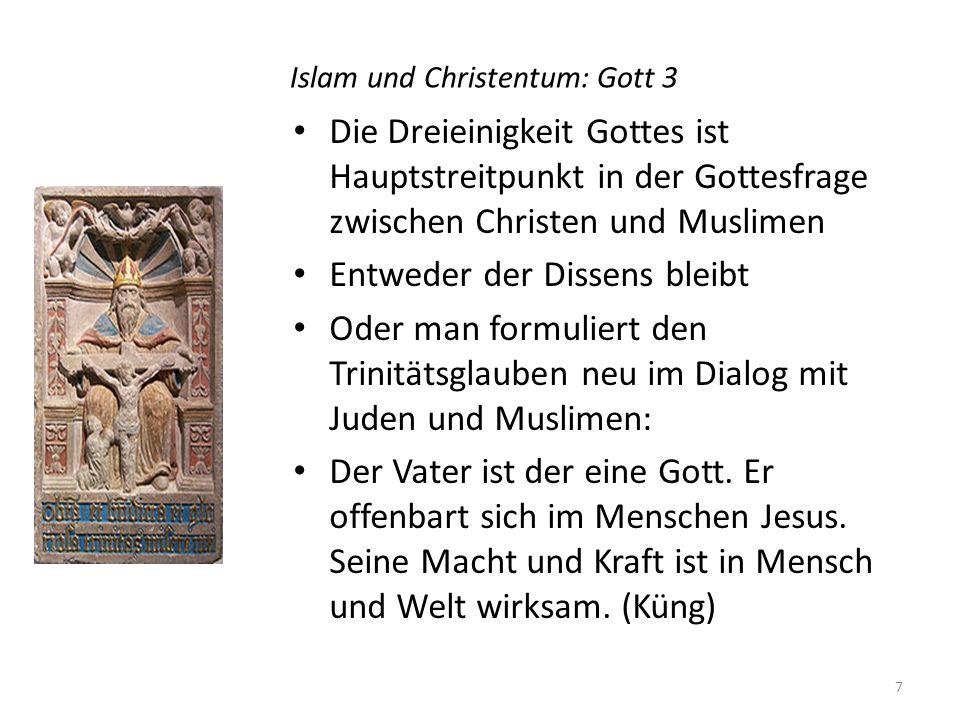 Islam und Christentum: Gott 3 Die Dreieinigkeit Gottes ist Hauptstreitpunkt in der Gottesfrage zwischen Christen und Muslimen Entweder der Dissens bleibt Oder man formuliert den Trinitätsglauben neu im Dialog mit Juden und Muslimen: Der Vater ist der eine Gott.
