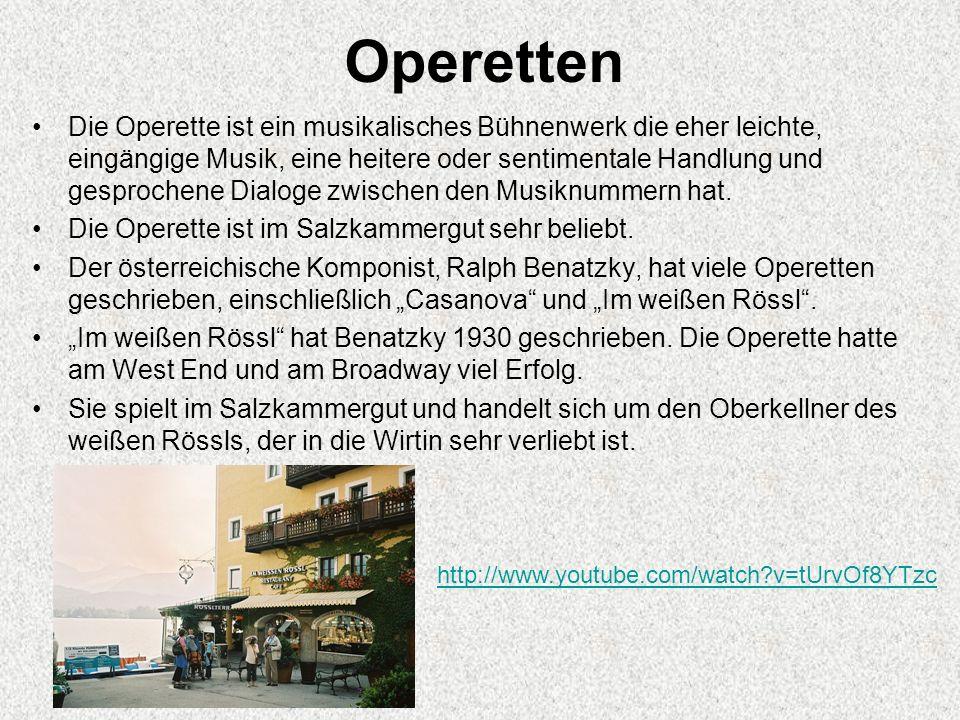 Operetten Die Operette ist ein musikalisches Bühnenwerk die eher leichte, eingängige Musik, eine heitere oder sentimentale Handlung und gesprochene Dialoge zwischen den Musiknummern hat.
