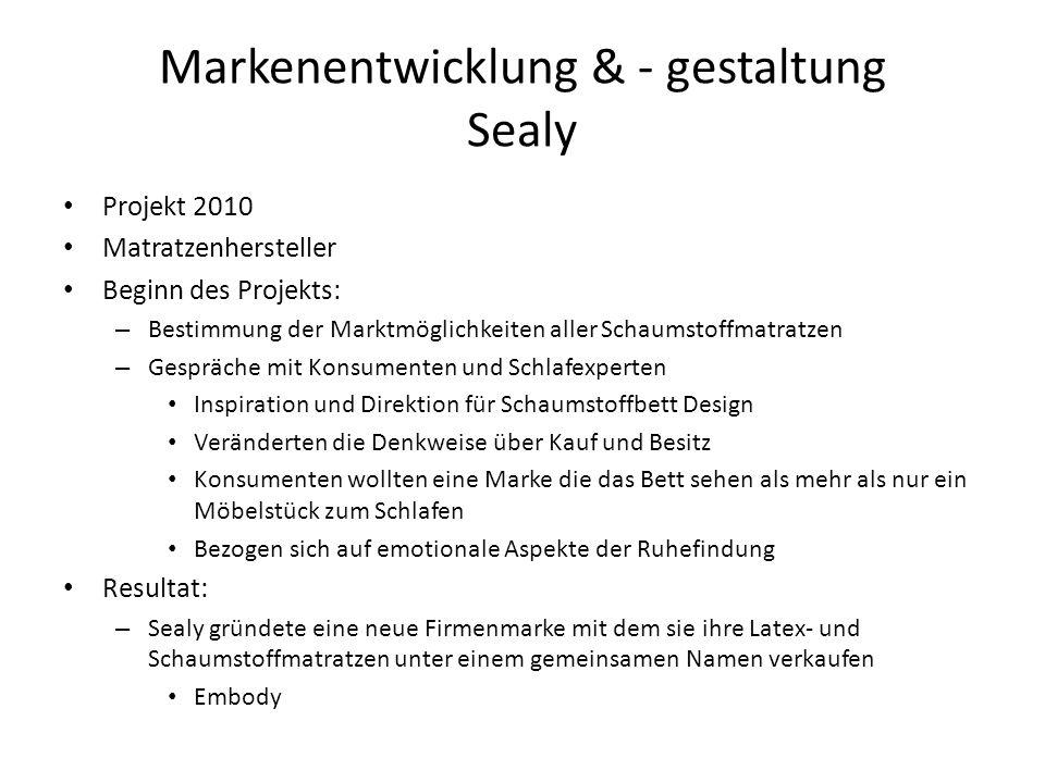 Markenentwicklung & - gestaltung Sealy Projekt 2010 Matratzenhersteller Beginn des Projekts: – Bestimmung der Marktmöglichkeiten aller Schaumstoffmatr