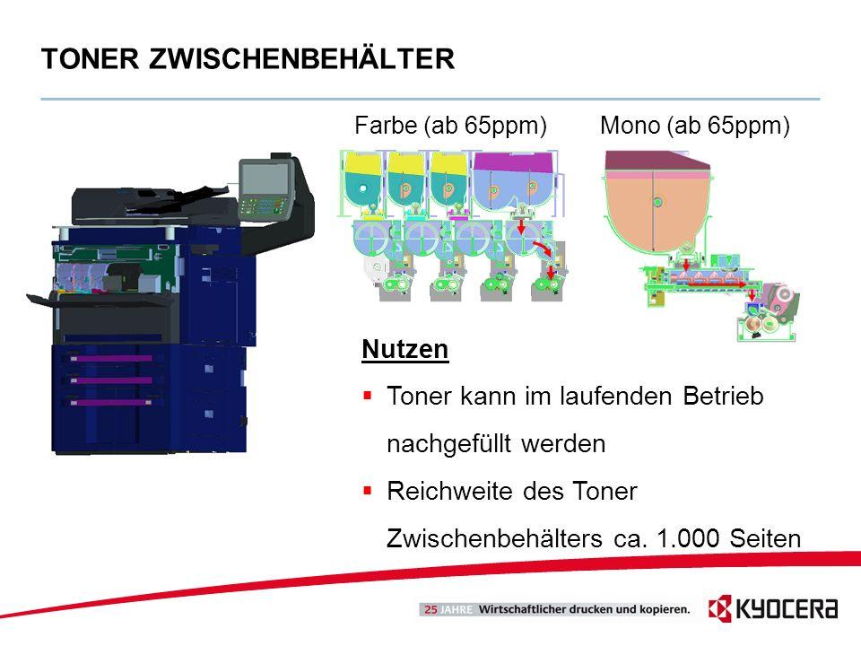 TONER ZWISCHENBEHÄLTER Farbe (ab 65ppm)Mono (ab 65ppm) Nutzen Toner kann im laufenden Betrieb nachgefüllt werden Reichweite des Toner Zwischenbehälter
