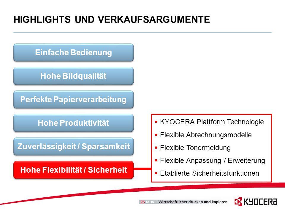 KYOCERA Plattform Technologie Flexible Abrechnungsmodelle Flexible Tonermeldung Flexible Anpassung / Erweiterung Etablierte Sicherheitsfunktionen HIGH