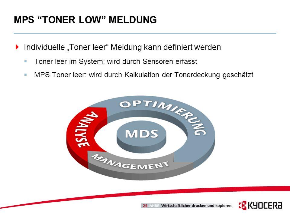 Individuelle Toner leer Meldung kann definiert werden Toner leer im System: wird durch Sensoren erfasst MPS Toner leer: wird durch Kalkulation der Ton