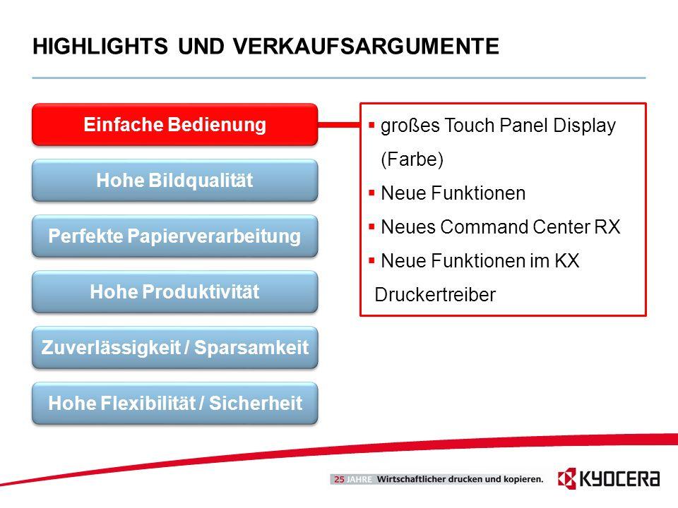 großes Touch Panel Display (Farbe) Neue Funktionen Neues Command Center RX Neue Funktionen im KX Druckertreiber HIGHLIGHTS UND VERKAUFSARGUMENTE Einfa
