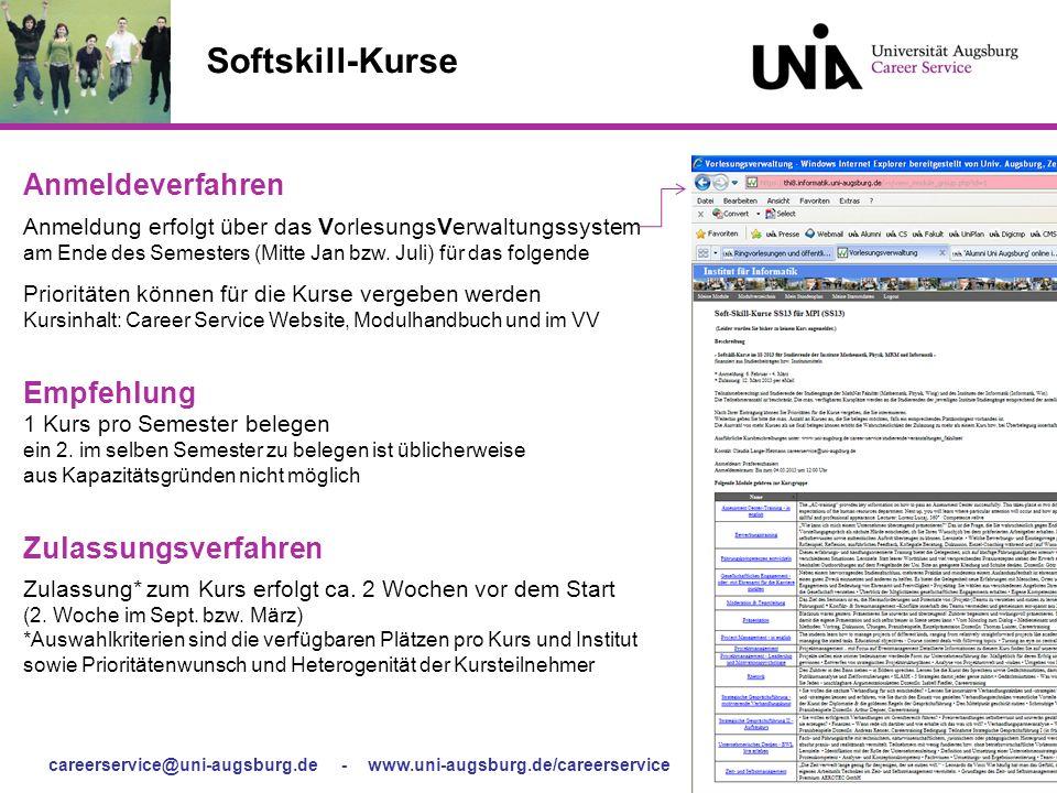 careerservice@uni-augsburg.de - www.uni-augsburg.de/careerservice - Softskill-Kurse für Fakultäten Softskill-Kurse Anmeldeverfahren Anmeldung erfolgt