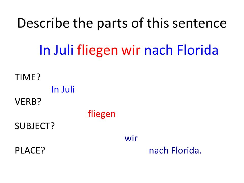 Describe the parts of this sentence In Juli fliegen wir nach Florida TIME.