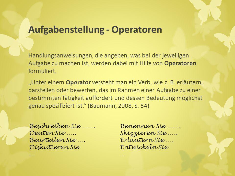 Operatoren können den Handlungskompetenzen zugeordnet werden.
