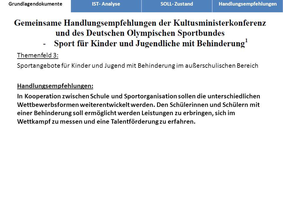 Themenfeld 3: Sportangebote für Kinder und Jugend mit Behinderung im außerschulischen Bereich Handlungsempfehlungen: In Kooperation zwischen Schule un