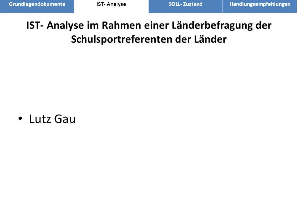 IST- Analyse im Rahmen einer Länderbefragung der Schulsportreferenten der Länder Lutz Gau GrundlagendokumenteIST- AnalyseSOLL- ZustandHandlungsempfehl