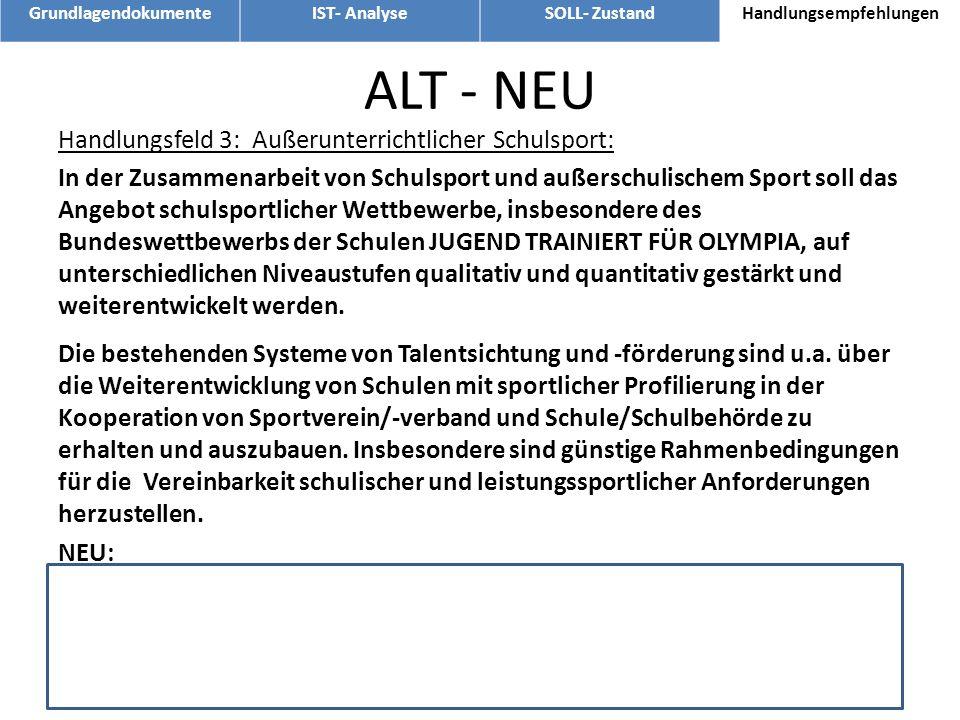 ALT - NEU Handlungsfeld 3: Außerunterrichtlicher Schulsport: In der Zusammenarbeit von Schulsport und außerschulischem Sport soll das Angebot schulspo