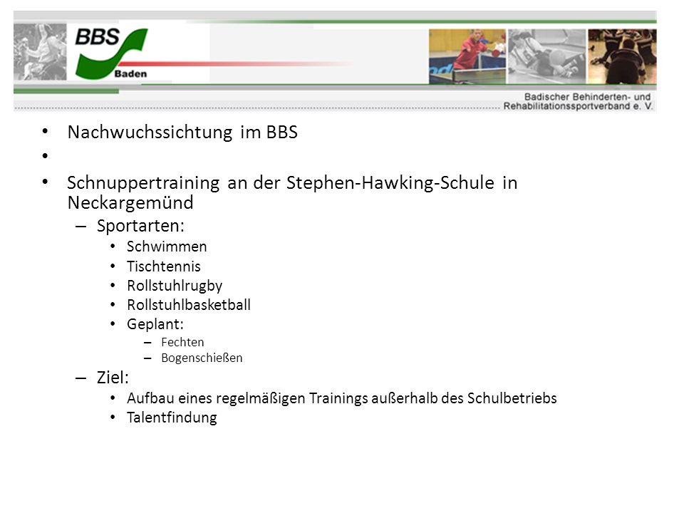 Nachwuchssichtung im BBS Schnuppertraining an der Stephen-Hawking-Schule in Neckargemünd – Sportarten: Schwimmen Tischtennis Rollstuhlrugby Rollstuhlb