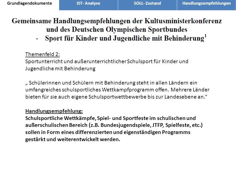 Themenfeld 2: Sportunterricht und außerunterrichtlicher Schulsport für Kinder und Jugendliche mit Behinderung Schülerinnen und Schülern mit Behinderun