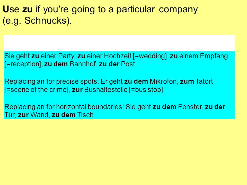 Use zu if you're going to a particular company (e.g. Schnucks). Sie geht zu einer Party, zu einer Hochzeit [=wedding], zu einem Empfang [=reception],