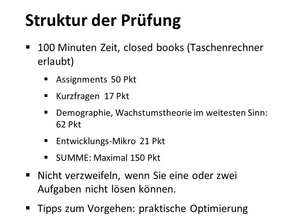 Struktur der Prüfung 100 Minuten Zeit, closed books (Taschenrechner erlaubt) Assignments 50 Pkt Kurzfragen 17 Pkt Demographie, Wachstumstheorie im wei