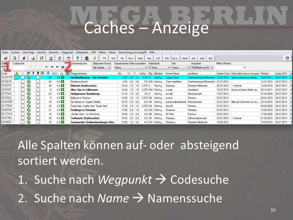 Caches – Anzeige Alle Spalten können auf- oder absteigend sortiert werden.