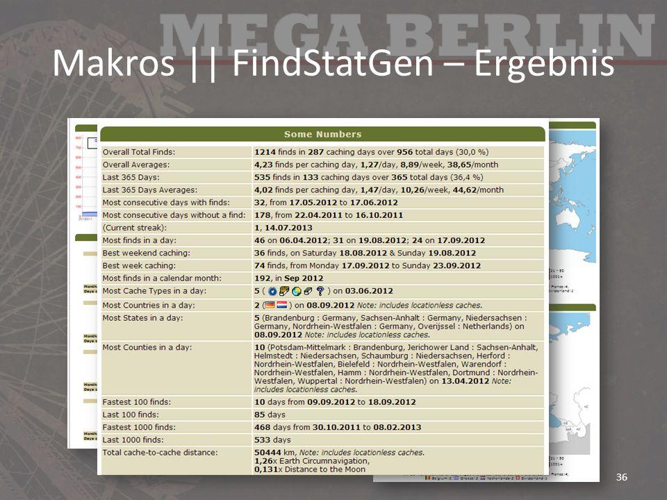 Makros    FindStatGen – Ergebnis 36