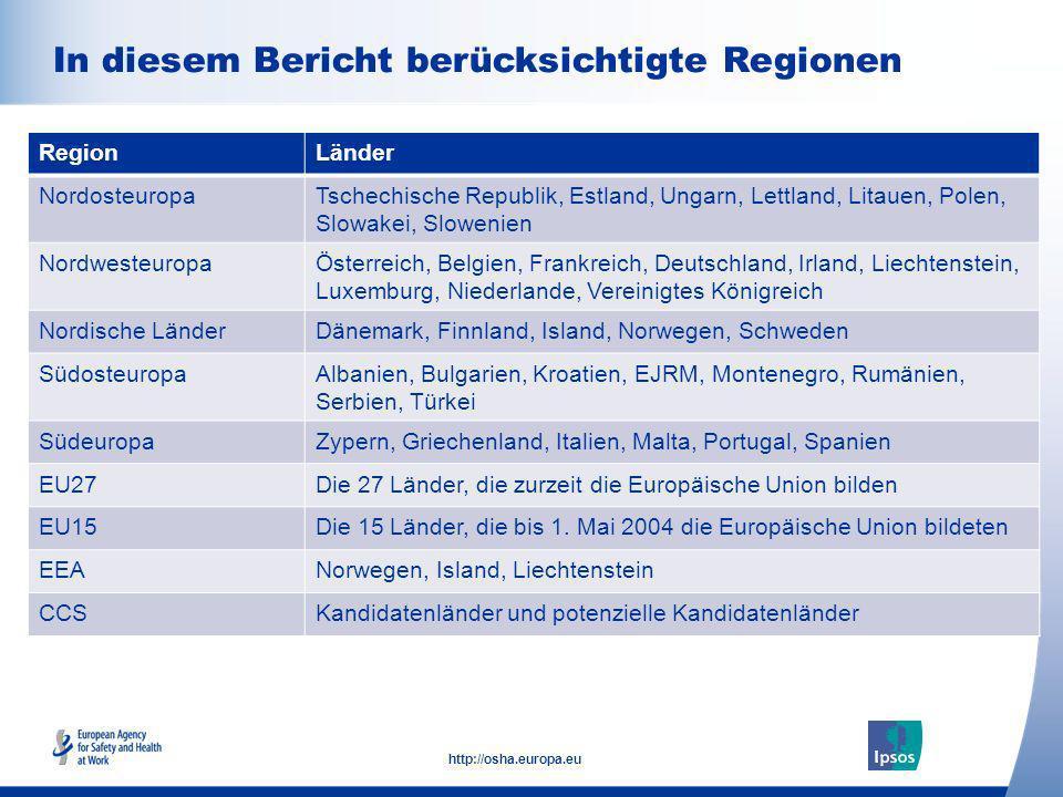 36 http://osha.europa.eu Europäische Agentur für Sicherheit und Gesundheitsschutz am Arbeitsplatz (EU-OSHA) trägt dazu bei, dass die Arbeitsplätze in Europa sicherer, gesünder und produktiver werden; untersucht, entwickelt und verbreitet verlässliche, ausgewogene und unparteiische Informationen über Sicherheit und Gesundheitsschutz; organisiert europaweite Sensibilisierungskampagnen; wurde 1996 von der Europäischen Union gegründet und hat ihren Sitz in Bilbao, Spanien; bringt Vertreter der Europäischen Kommission, der Regierungen der Mitgliedstaaten, Arbeitgeber- und Arbeitnehmerorganisationen und führende Sachverständige aus allen 27 EU-Mitgliedstaaten und darüber hinaus zusammen.