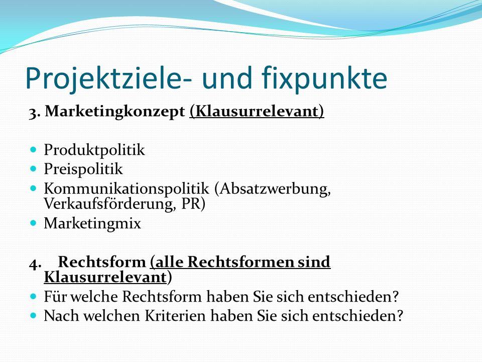 Projektziele- und fixpunkte 3. Marketingkonzept (Klausurrelevant) Produktpolitik Preispolitik Kommunikationspolitik (Absatzwerbung, Verkaufsförderung,