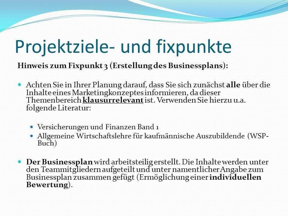Projektziele- und fixpunkte Hinweis zum Fixpunkt 3 (Erstellung des Businessplans): Achten Sie in Ihrer Planung darauf, dass Sie sich zunächst alle übe