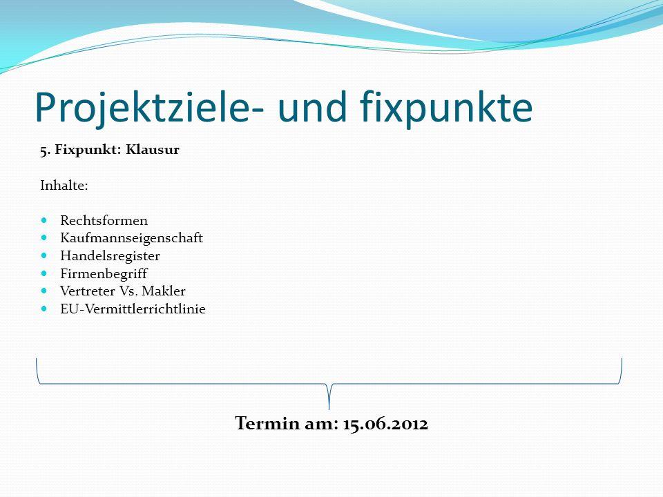 Projektziele- und fixpunkte 5. Fixpunkt: Klausur Inhalte: Rechtsformen Kaufmannseigenschaft Handelsregister Firmenbegriff Vertreter Vs. Makler EU-Verm