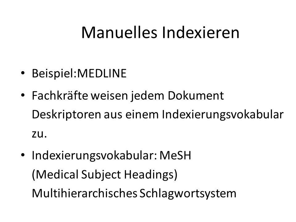 Manuelles Indexieren Beispiel:MEDLINE Fachkräfte weisen jedem Dokument Deskriptoren aus einem Indexierungsvokabular zu. Indexierungsvokabular: MeSH (M