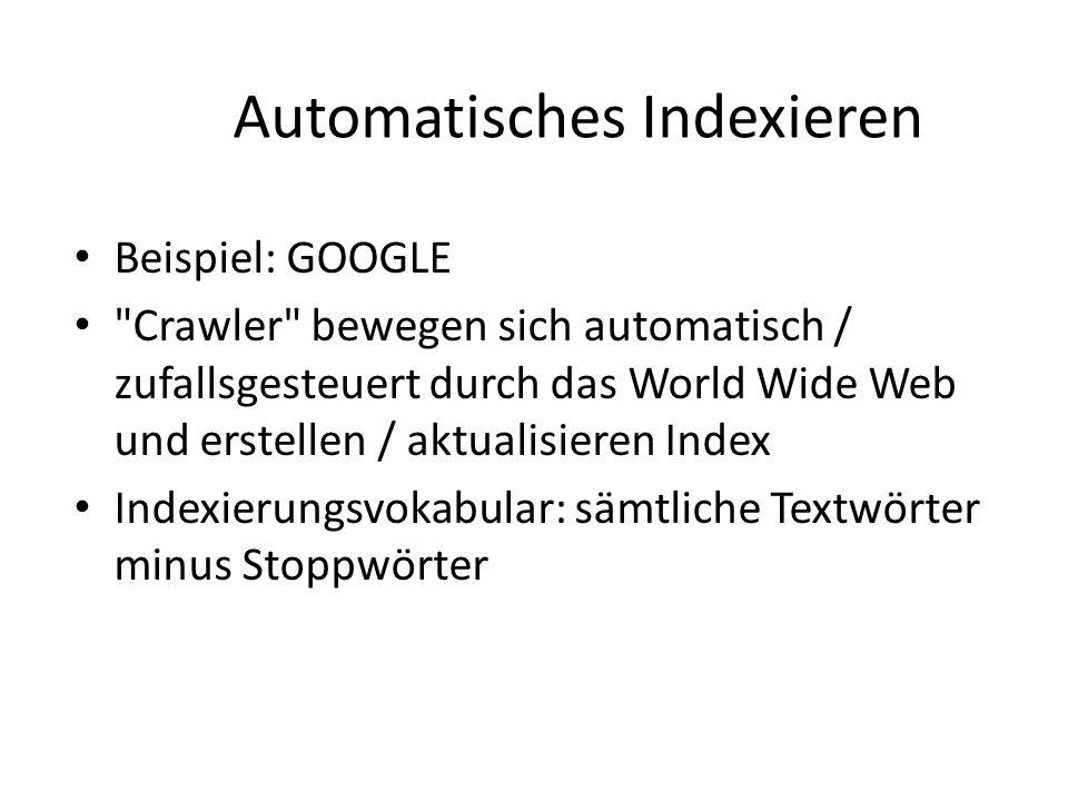 Automatisches Indexieren Beispiel: GOOGLE